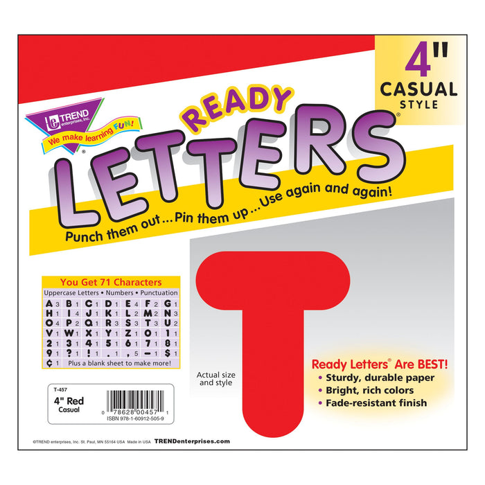 T457 Letters 4 Inch Casual Red Package