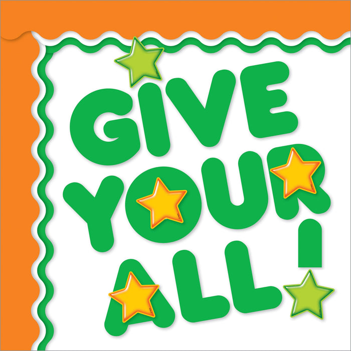 Green and orange school team color bulletin board decorations