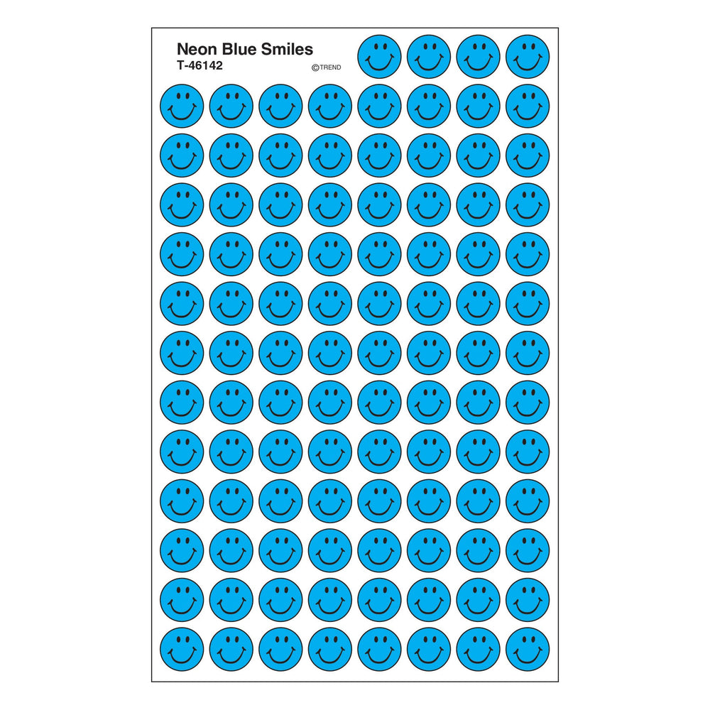 T46142 Stickers Chart Neon Blue Smile