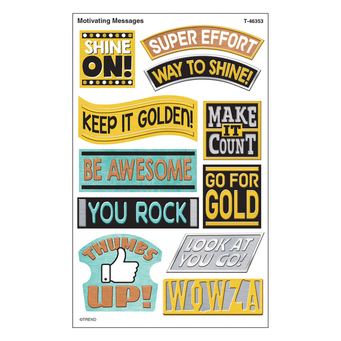 T46353 Stickers Metal Motivating Messages