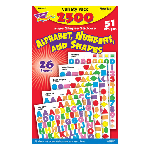 T46908 Sticker Variety Pack Alphabet Numbers Shapes