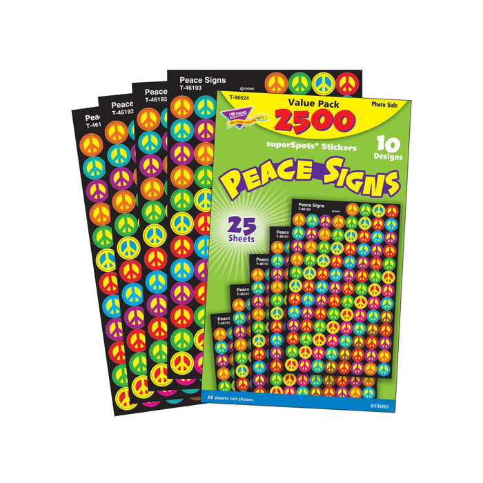 T46924 Sticker Chart Value Pack Peace Signs