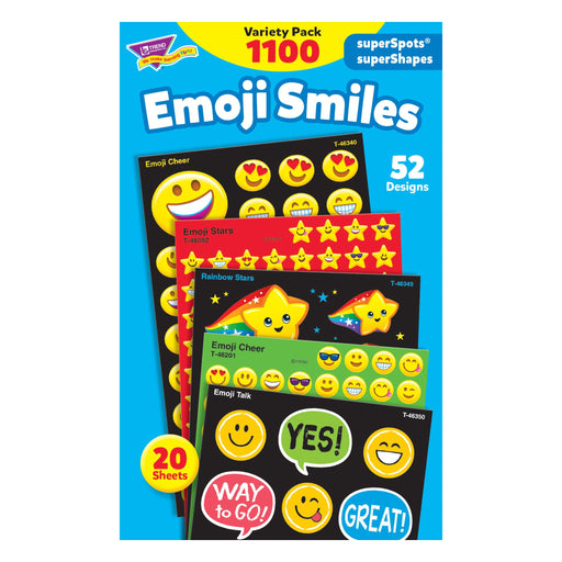 T46932 Sticker Variety Pack Emoji Smiles