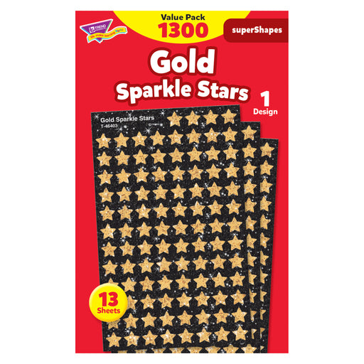 Gold Sparkle Stars superShapes Stickers Value Pack