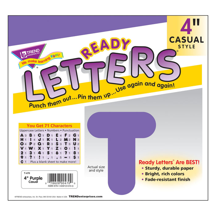 T470 Letters 4 Inch Casual Purple Package