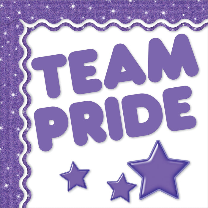 Purple school team color bulletin board decorations