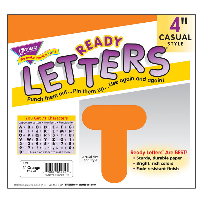 T475 Letters 4 Inch Casual Orange Package