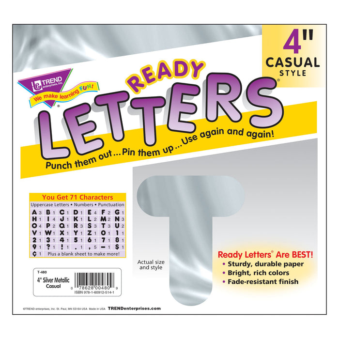 T480 Letters 4 Inch Casual Silver Metallic Package