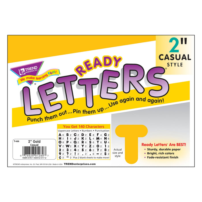 T488 Letters Inch Casual Gold Package