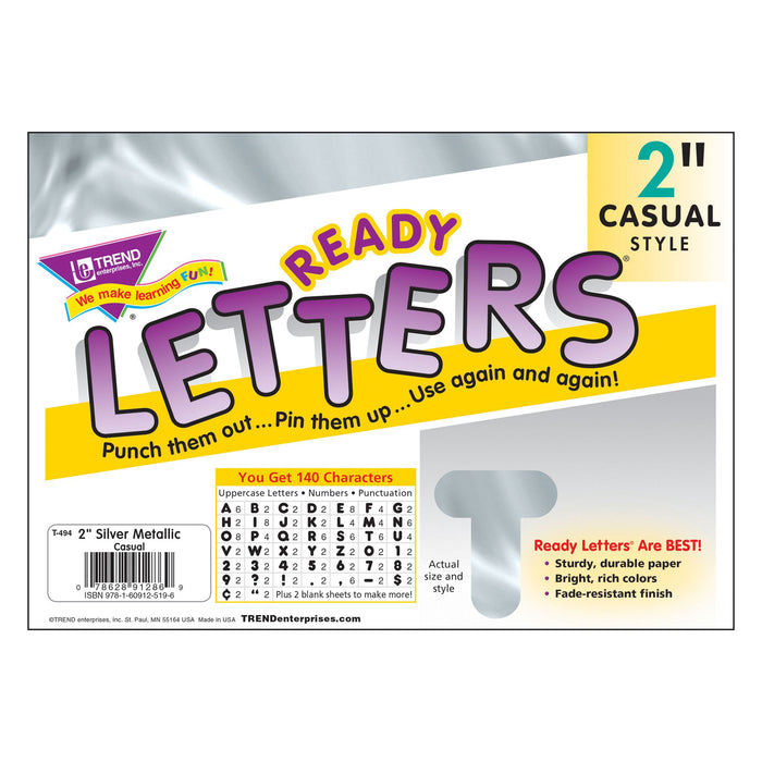 T494 Letters Inch Casual Silver Metallic Package