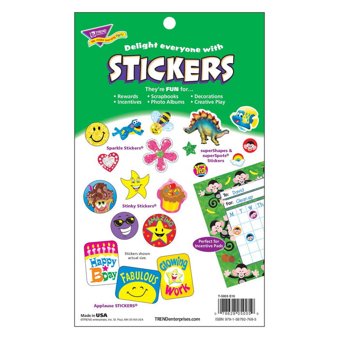 T5005 Sticker Pad Sparkle Star Heart Smile Package Back