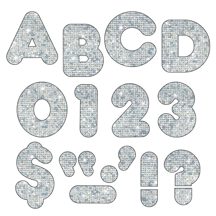 T506 Letters Inch Casual Silver Sparkle