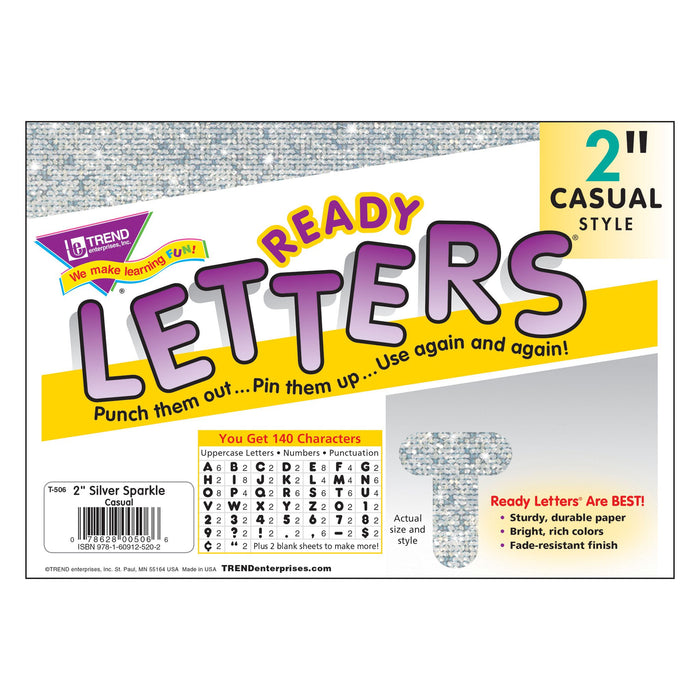 T506 Letters Inch Casual Silver Sparkle Package