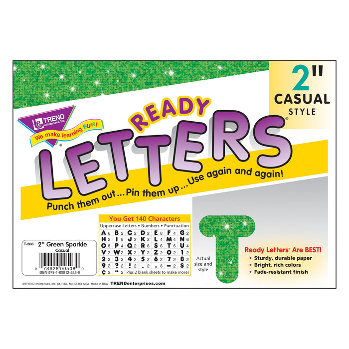 T508 Letters Inch Casual Green Sparkle Package