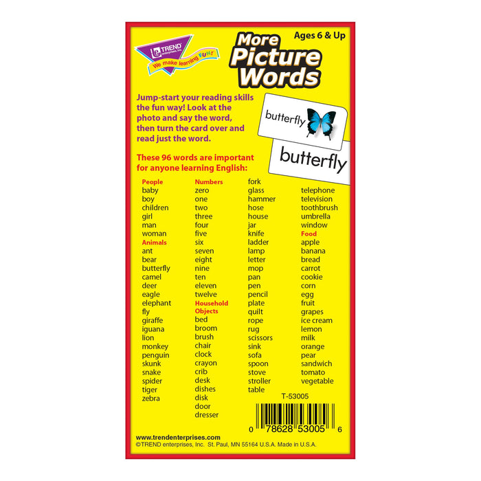 T53005 Flash Cards More Picture Words Box Back