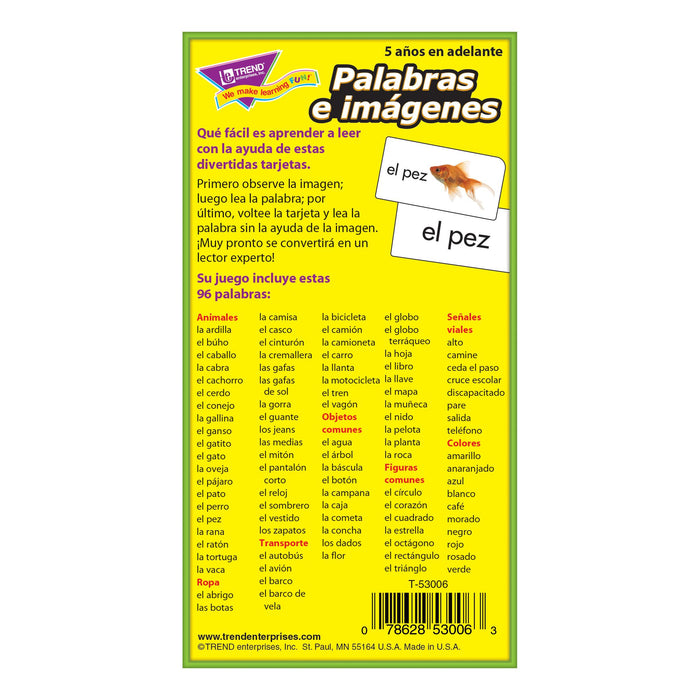 T53006 Flash Cards Picture Words Spanish Box Back