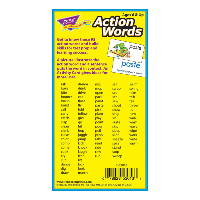 T53013 Flash Cards Action Words Box Back
