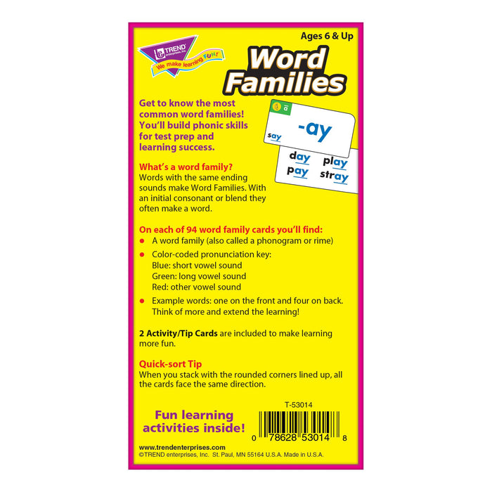 T53014 Flash Cards Word Families Box Back