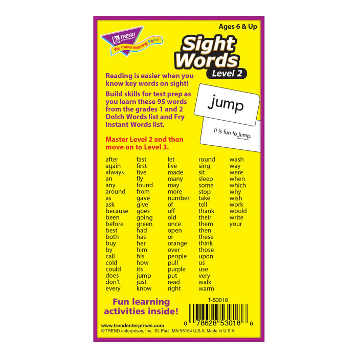 T53018 Flash Cards Sight Words Box Back