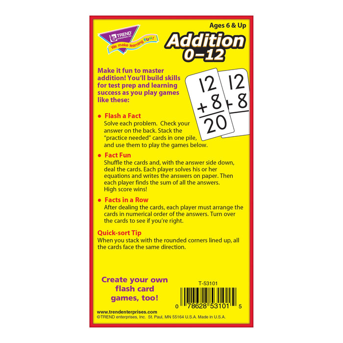 T53101 Flash Cards Addition 0-12 Box Back