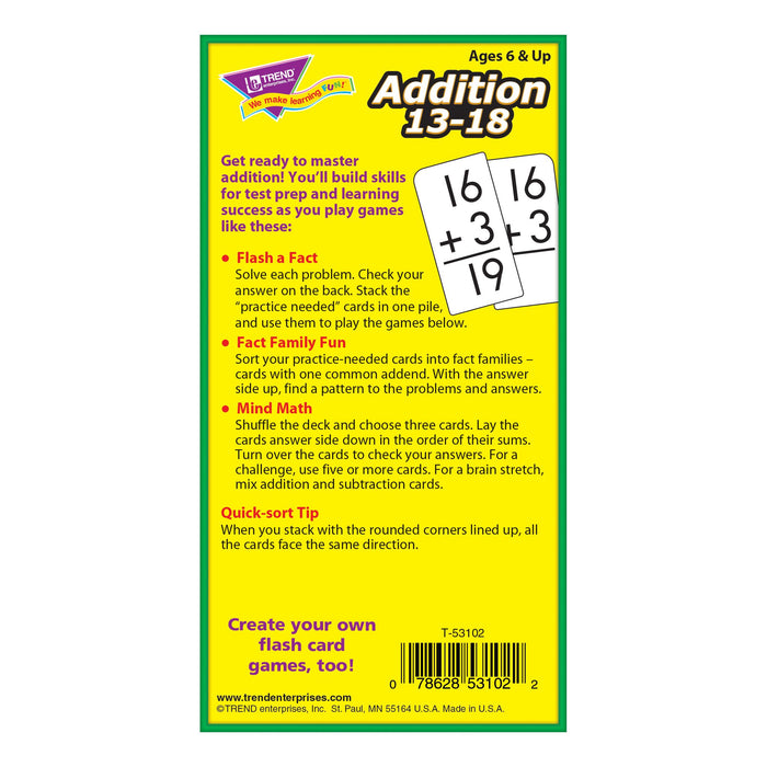 T53102 Flash Cards Addition 13-18 Box Back