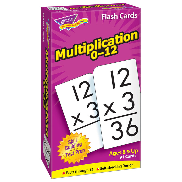T53105 Flash Cards Multiplication 0-12 Box Left