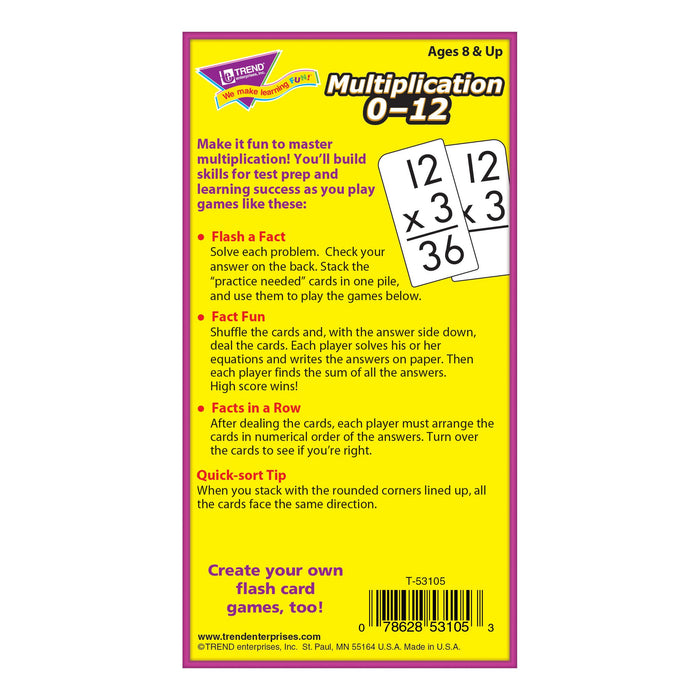 T53105 Flash Cards Multiplication 0-12 Box Back