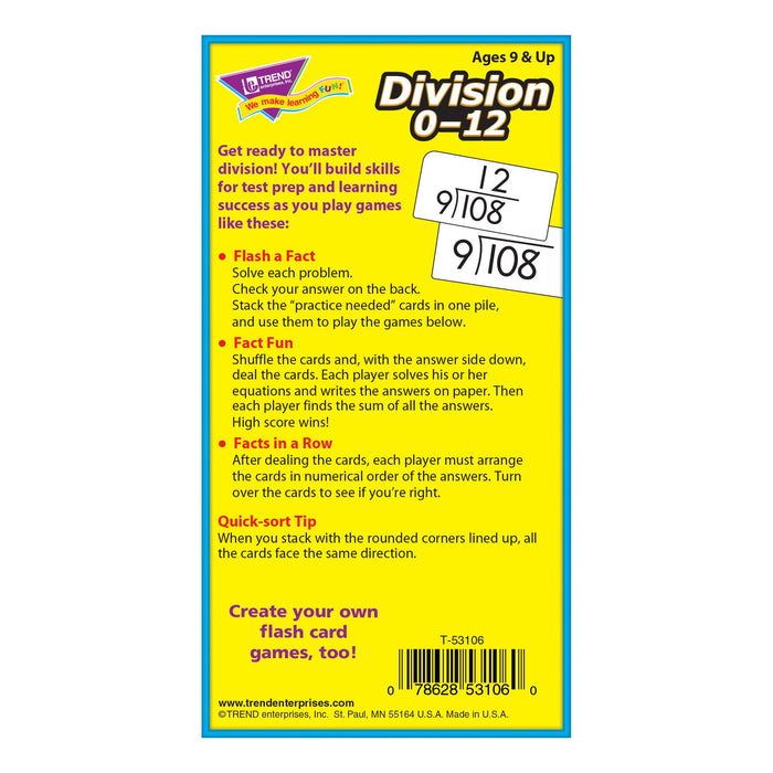 T53106 Flash Cards Division 0-12 Box Back