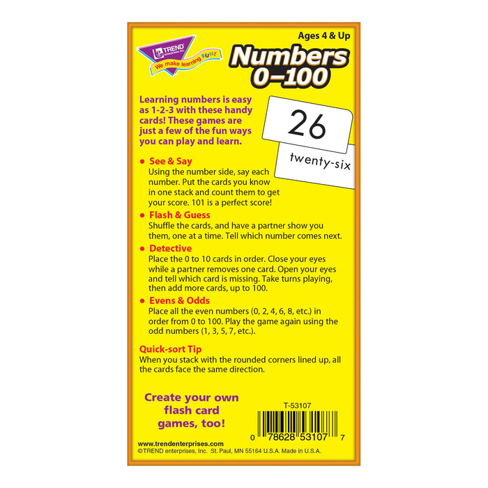 T53107 Flash Cards Numbers 0-100 Box Back