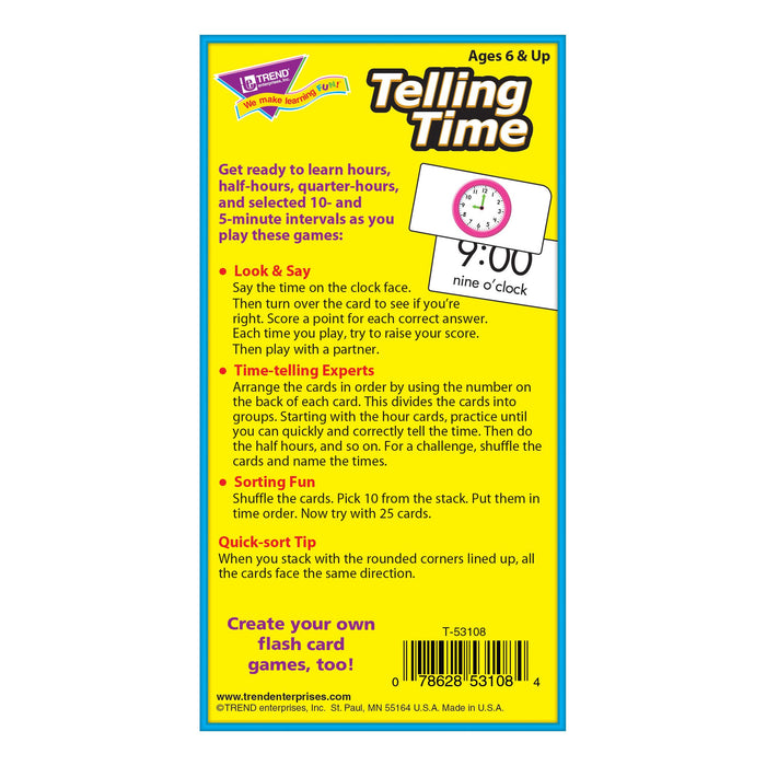 T53108 Flash Cards Telling Time Box Back