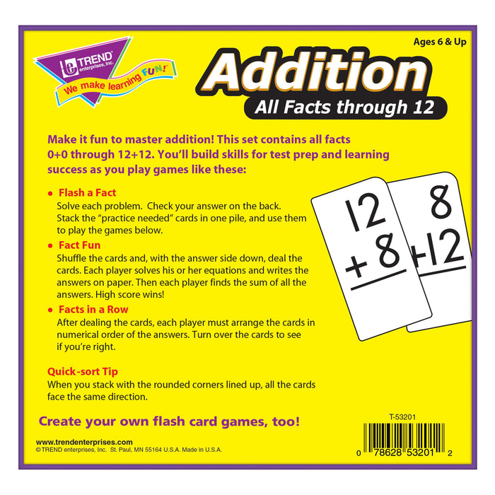 T53201 Flash Cards Addition Box Back