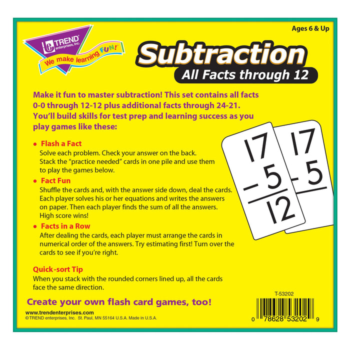 T53202 Flash Cards Subtraction Box Back