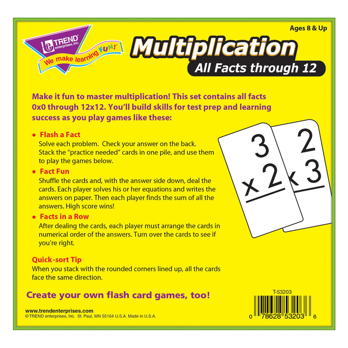 T53203 Flash Cards Multiplication Box Back
