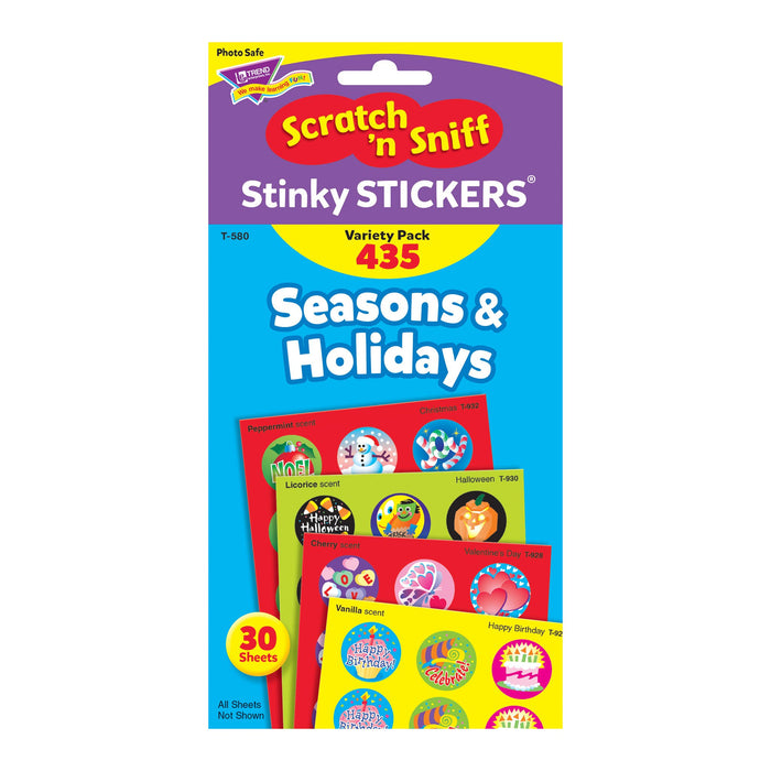 T580 Sticker Scratch n Sniff Variety Pack Seasons Holidays Package