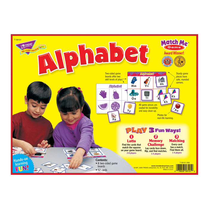 T58101 Matching Game Alphabet Box Back