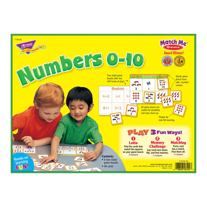 T58102 Matching Game Numbers 0-10 Box Back
