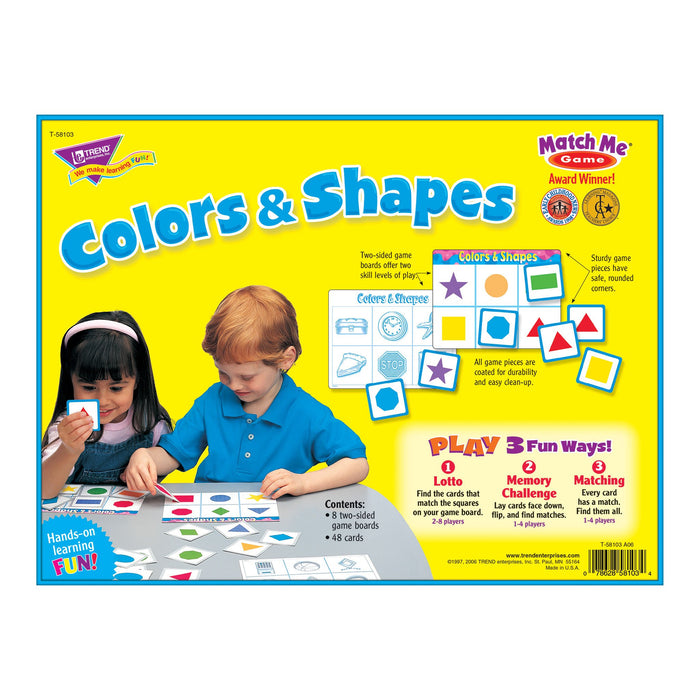 T58103 Matching Game Color Shapes Box Back