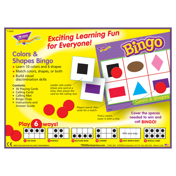 T6061 Bingo Game Color Shape Box Back