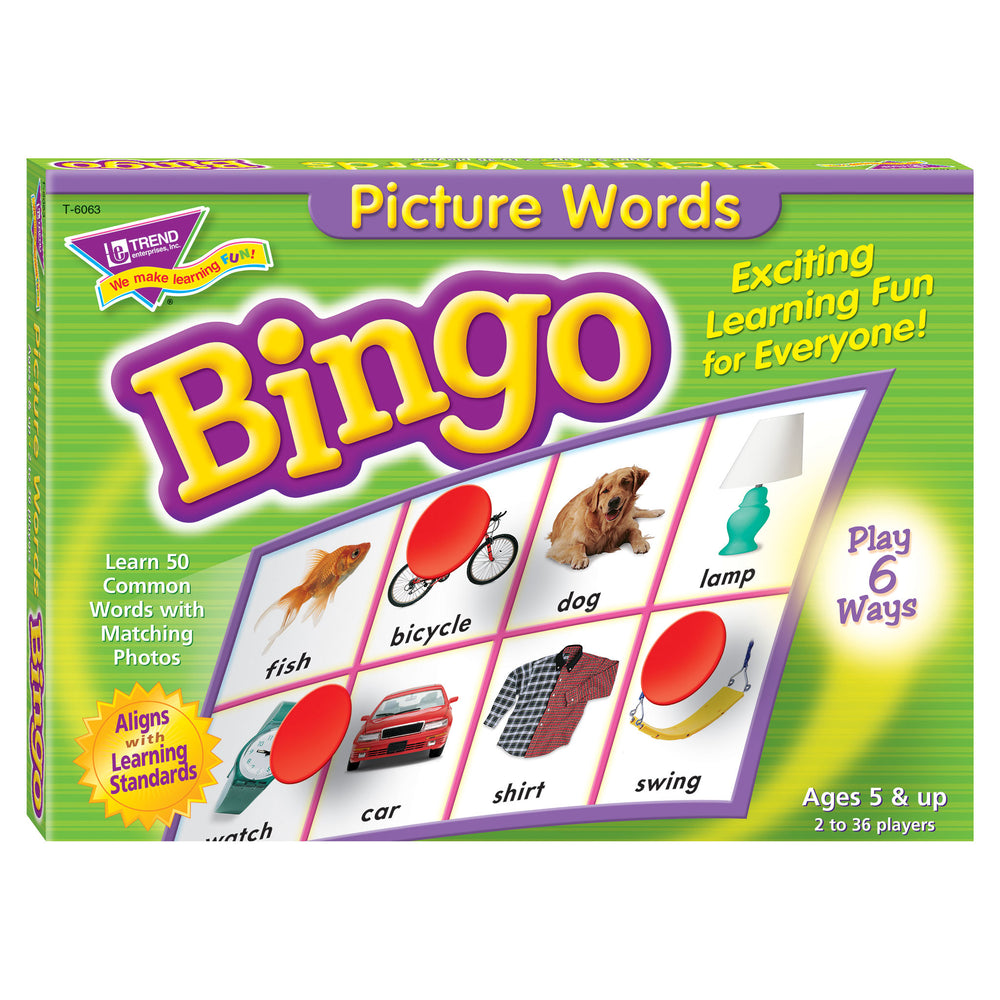 T6063 Bingo Game Picture Words Box Front