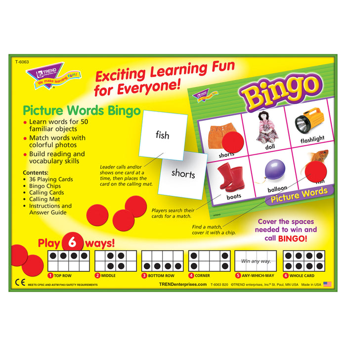 T6063 Bingo Game Picture Words Box Back