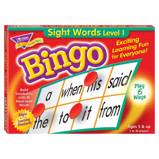 T6064 Bingo Game Sight Words Box Front