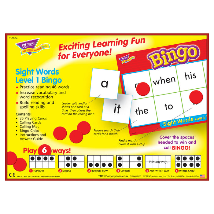 T6064 Bingo Game Sight Words Box Back
