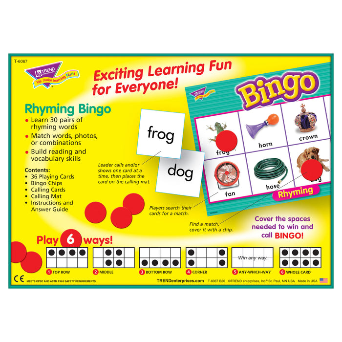 T6067 Bingo Game Rhyming Box Back
