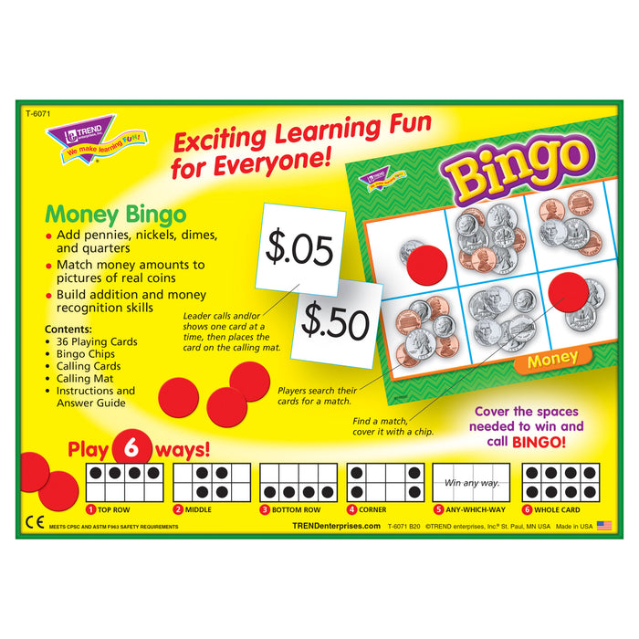 T6071 Bingo Game Money Box Back