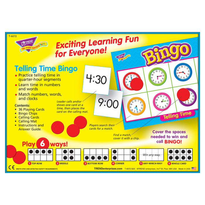 T6072 Bingo Game Telling Time Box Back