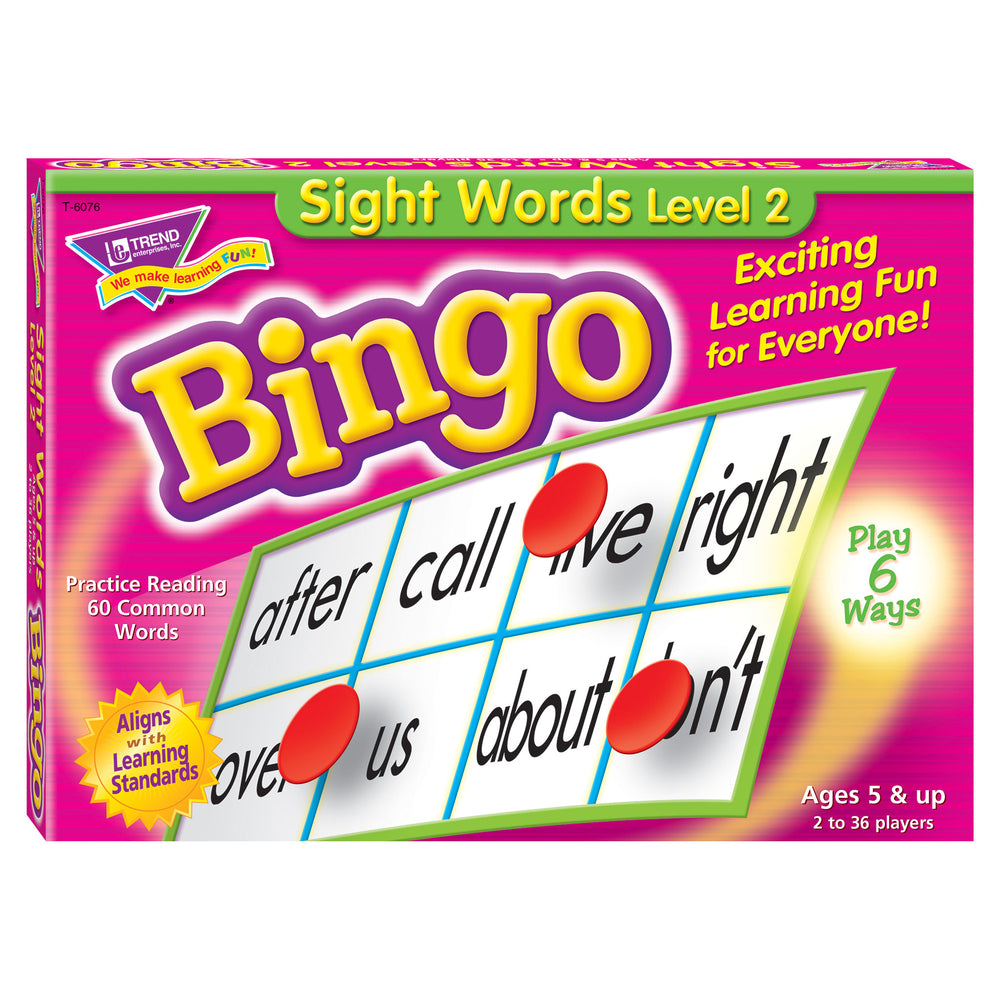 T6076 Bingo Game Sight Words Box Front