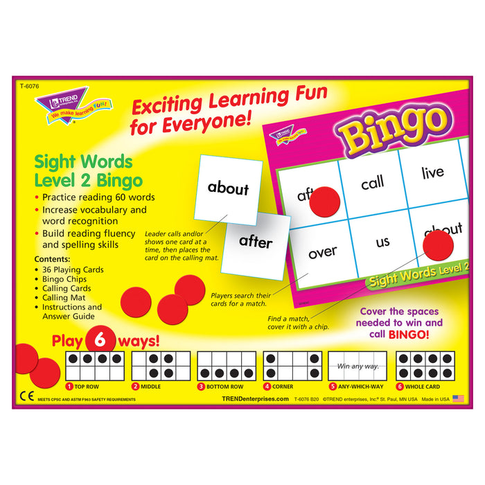 T6076 Bingo Game Sight Words Box Back