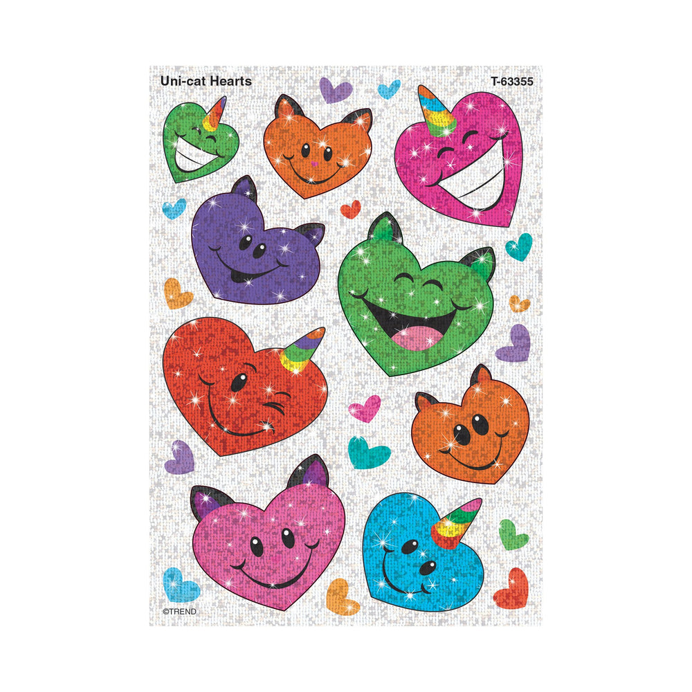 T63355 Stickers Sparkle Unicorn cats Hearts