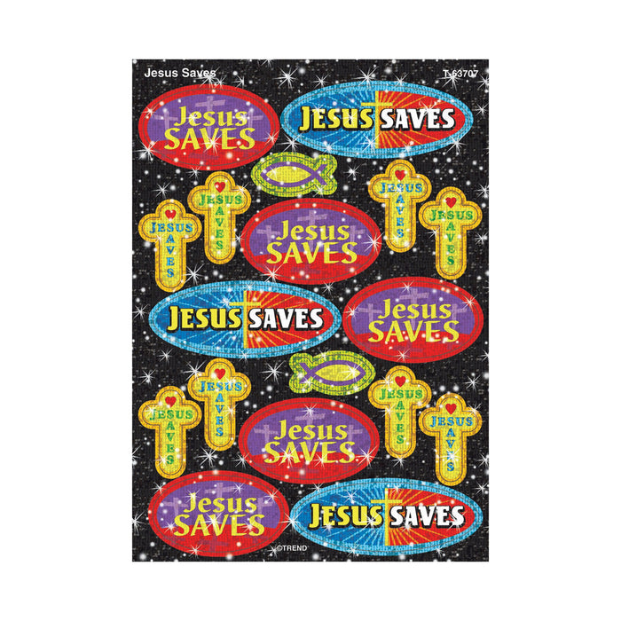 T63707 Stickers Sparkle Jesus Saves