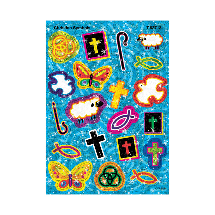 T63713 Stickers Sparkle Christian Symbols